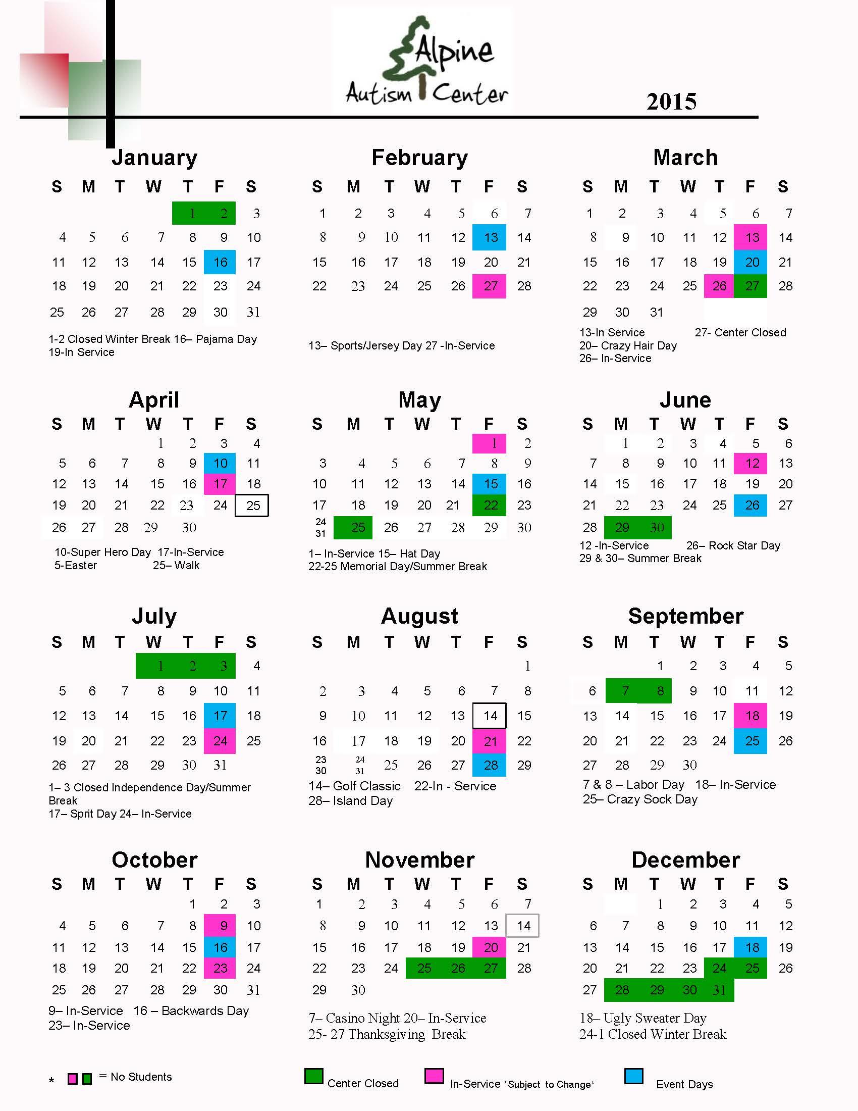 2015 Calendar new